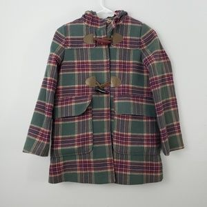 Joules Plaid Button Front Hoodie Peacoat Jacket